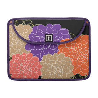 Pretty Whimsical Floral Purple and Orange Print Sleeve For MacBooks