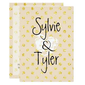 Pretty Whimsical Gold Glitter Polka Dots on Cream 13 Cm X 18 Cm Invitation Card