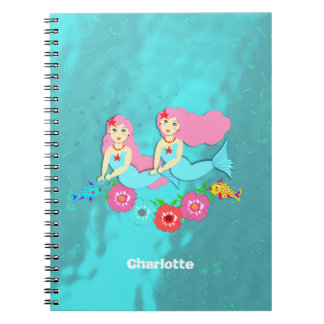Pretty Whimsical swimming Mermaids Notebook