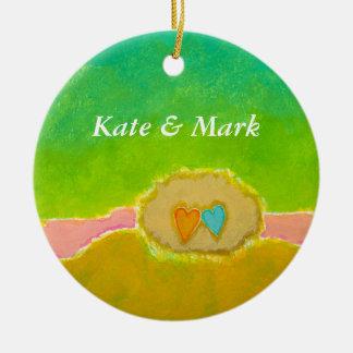 Pretty whimsical wedding art Summer Love Protected Christmas Ornament