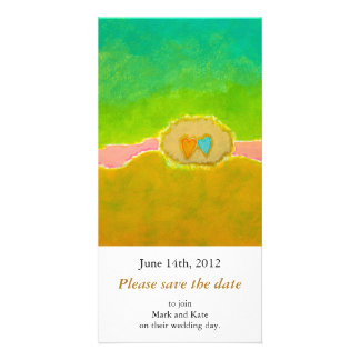 Pretty whimsical wedding art Summer Love Protected Photo Greeting Card