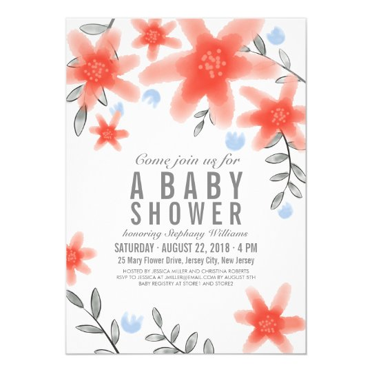 Pretty Whimsy Red Floral Baby Shower Invitation