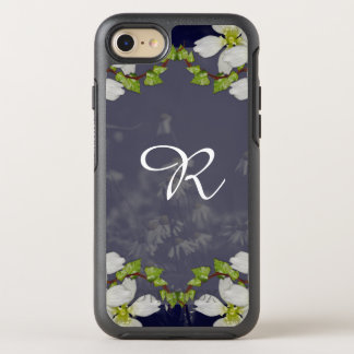 Pretty White Botanical Floral Monogrammed OtterBox Symmetry iPhone 8/7 Case