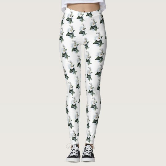 Pretty White Cala Lily Floral Wedding Pattern Leggings