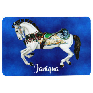 Pretty White Carousel Horse on Deep Blue Floor Mat