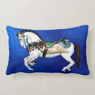 Pretty White Carousel Horse on Deep Blue Lumbar Cushion