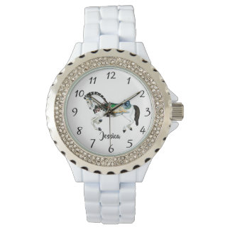 Pretty White Carousel Horse Watch