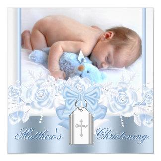 Pretty White Cross Baby Blue Christening 13 Cm X 13 Cm Square Invitation Card