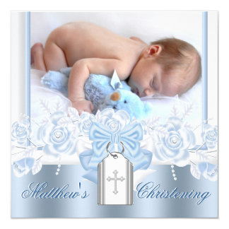 Pretty White Cross Baby Blue Christening Card