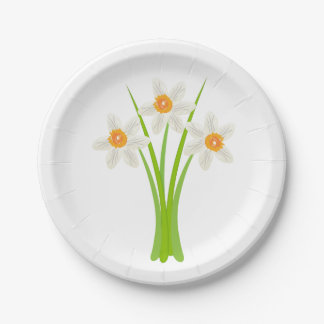 Pretty White Daffodils Flower Garden Party Paper Plate