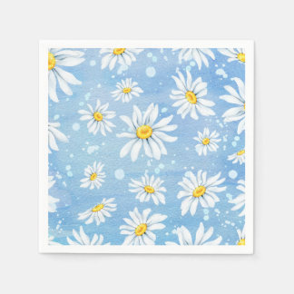 Pretty White Daisies on Blue Disposable Serviette