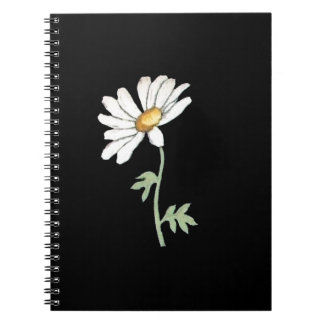 Pretty White Daisy on Black Notebook