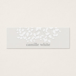 Pretty White Embossed Look Leaves Mini Business Card