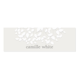 Pretty White Embossed Look Leaves Pack Of Skinny Business Cards