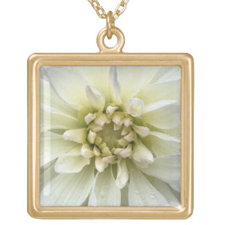 Pretty White Flower Garden Watercolor Gold Plated Necklace