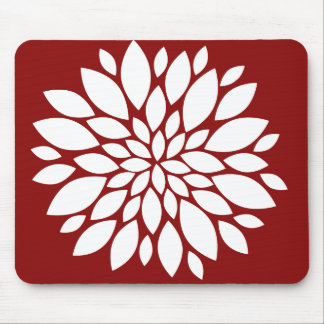 Pretty White Flower Petal Art on Red Mouse Pad