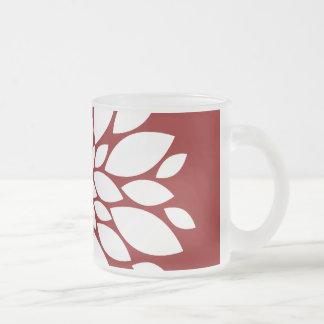Pretty White Flower Petal Art on Red Mug