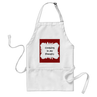 Pretty White Flower Petal Art on Red Standard Apron