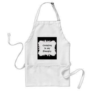 Pretty White Flower Petals Art on Black Standard Apron