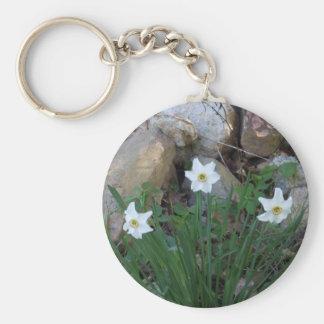 Pretty White Flowers in a Rock Garden Key Ring