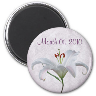 Pretty White Lily Flower Magnet