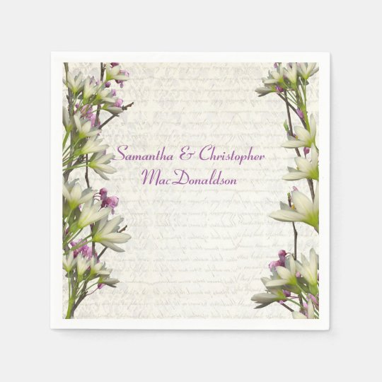 Pretty white mauve lilac floral country wedding disposable
