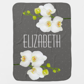 Pretty White Orchid Flowers Baby's Name Baby Blanket