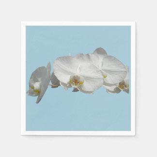 Pretty White Orchid on Light Blue Disposable Serviettes