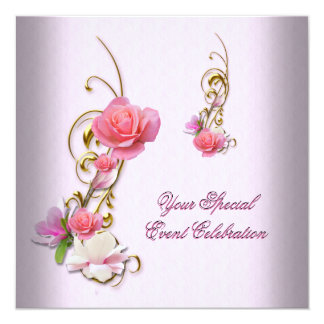 "Pretty White Pink Gold Flowers Birthday Party 5.25"" Square Invitation Card"
