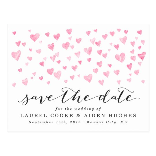 Pretty White & Pink Hearts Save the Date