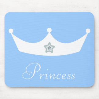 Pretty White Princess Crown Customizable Blue Mouse Pad