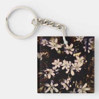 Pretty white & purple flowers Single-Sided square acrylic key ring