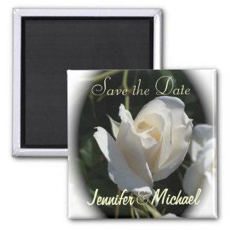 Pretty White Rose Save the Date Square Magnet