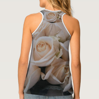 Pretty White Roses Print Tank Top for Her