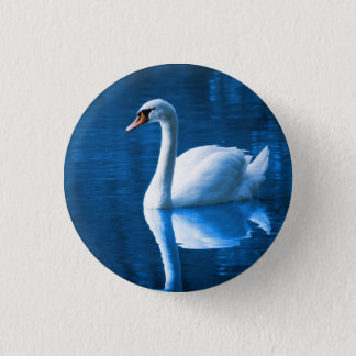 Pretty white swan floating on a blue lake 3 cm round badge