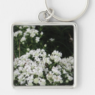 Pretty White Wildflower Key Ring