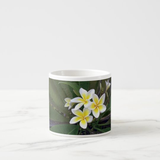 Pretty White & Yellow Tropical Flowers Espresso Cup