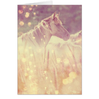 Pretty Wild Mustang Gold Sparkles Horse Card