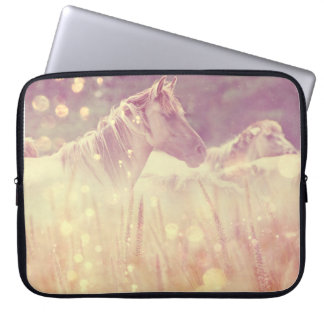 Pretty Wild Mustang Gold Sparkles Horse Laptop Computer Sleeve