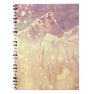 Pretty Wild Mustang Gold Sparkles Horse Spiral Notebook