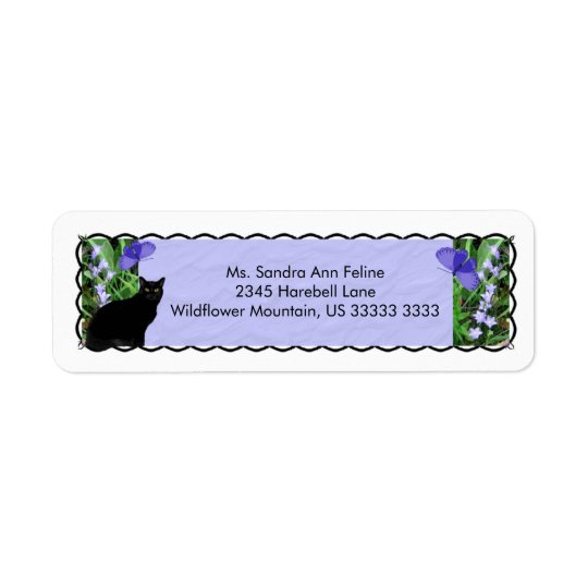 Pretty Wildflowers and Cat Return Address Labels