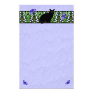 Pretty Wildflowers and Cat Stationary Stationery