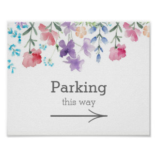 Pretty Wildflowers | Garden Wedding Parking Sign Poster