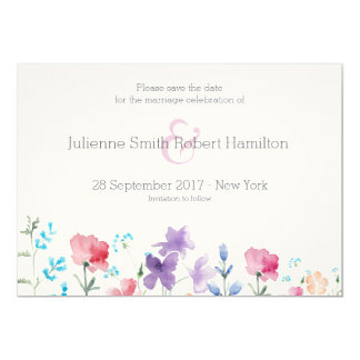 Pretty Wildflowers | Rustic Save the Date Card