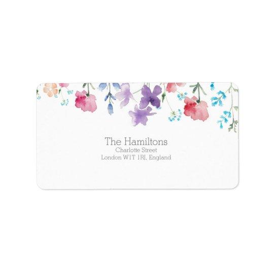 Pretty Wildflowers Rustic Wedding Address Label