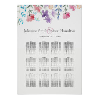 Pretty Wildflowers |  Seating Chart 12 Tables Poster