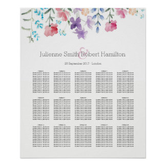 Pretty Wildflowers |  Seating Chart 15 Tables Poster