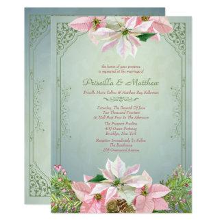 Pretty Winter Pine & Poinsettia, Floral Wedding 13 Cm X 18 Cm Invitation Card