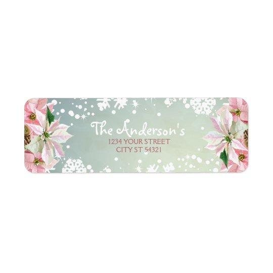 Pretty Winter Poinsettia Address Labels