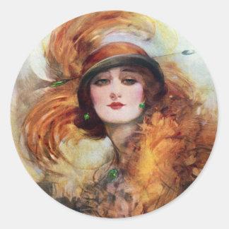 Pretty Woman Flapper Fashion 1920s Round Sticker